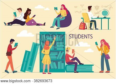 Diverse Multiracial College Or University Students Studying. Solving Physical And Chemical Problems,