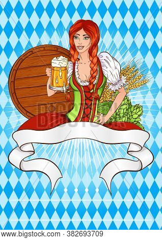 Oktoberfest Beer Festival Template. Vector Illustration With A Girl In A Traditional Bavarian Costum
