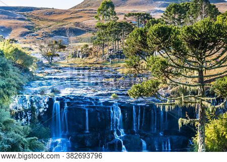 Landscape With Waterfall, Pine Trees And Field In The Mountain Range Of Santa Catarina. Southern Bra