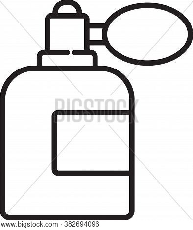 Black Line Aftershave Bottle With Atomizer Icon Isolated On White Background. Cologne Spray Icon. Ma