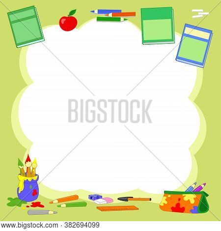 Green Cloud Background With Primary School Objects Vector Illustration