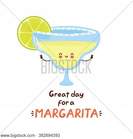 Cute Happy Margarita Cocktail Glass. Isolated On White Background. Vector Cartoon Character Hand Dra
