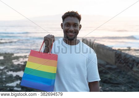 Man Giving Credit Card To Woman For Purchase. Girlfriend Is Very Happy For Credit Card. Buying Cloth