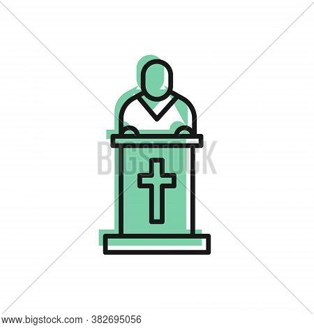 Black Line Church Pastor Preaching Icon Isolated On White Background. Vector Illustration