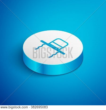 Isometric Line Orthodox Jewish Hat With Sidelocks Icon Isolated On Blue Background. Jewish Men In Th