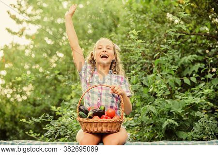 Eat Healthy. Summer Harvest Concept. Gmo Free. Healthy Food Concept. Girl Cute Smiling Child Living