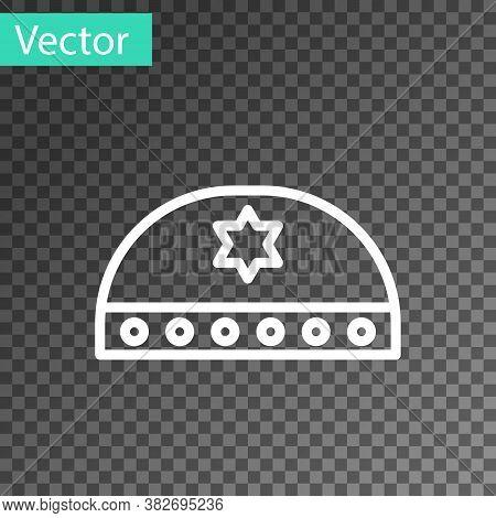 White Line Jewish Kippah With Star Of David Icon Isolated On Transparent Background. Jewish Yarmulke