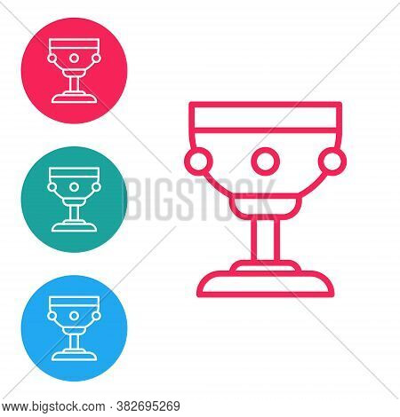 Red Line Christian Chalice Icon Isolated On White Background. Christianity Icon. Happy Easter. Set I