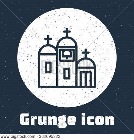 Grunge Line Church Building Icon Isolated On Grey Background. Christian Church. Religion Of Church.