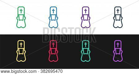 Set Line Priest Icon Isolated On Black And White Background. Vector Illustration