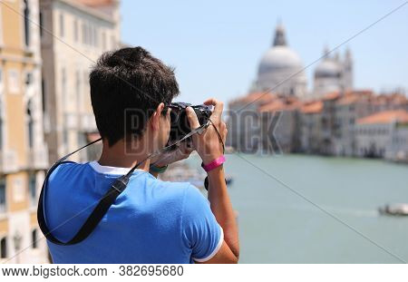 Boy Photographs The Grand Canal In Venice From The Accademia Bridge