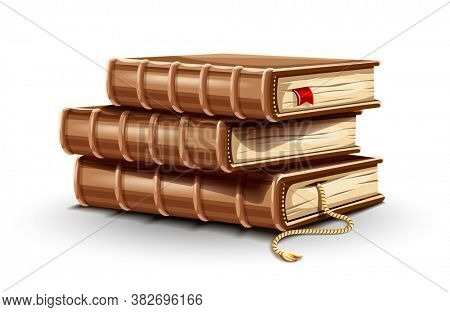 Stack pile of paper books with old leather covers and bookmark between pages. Library reading. Dictionary education training in school and university, Isolated white background. 3D illustration.