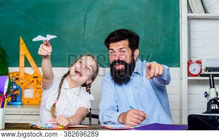 Man Bearded Pedagogue And Pupil Having Fun. Developing Caring Learners Who Are Actively Growing And