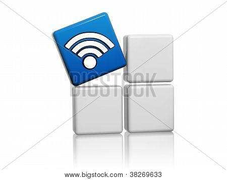 Blue Cube With Wifi Symbol Like Icon On Boxes