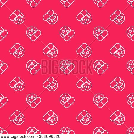 White Line Herbal Ecstasy Tablets Icon Isolated Seamless Pattern On Red Background. Vector Illustrat
