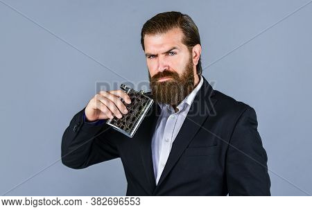 Drink For Refreshing. Vintage Gentleman Gift Shop. Brutal Businessman Drinking Alcohol. Man With His