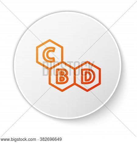 Orange Line Cannabis Molecule Icon Isolated On White Background. Cannabidiol Molecular Structures, T