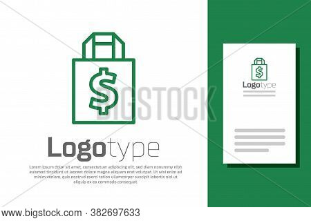 Green Line Shoping Bag And Dollar Symbol Icon Isolated On White Background. Handbag Sign. Woman Bag
