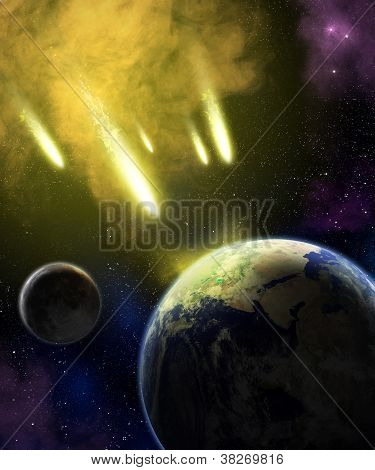 Earth, Moon And Asteroids