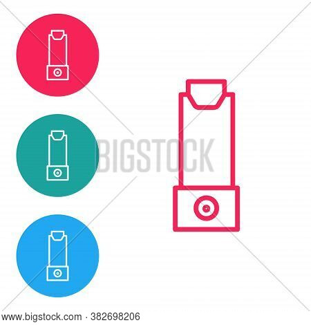 Red Line Inhaler Icon Isolated On White Background. Breather For Cough Relief, Inhalation, Allergic