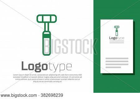 Green Line Neurology Reflex Hammer Icon Isolated On White Background. Logo Design Template Element.