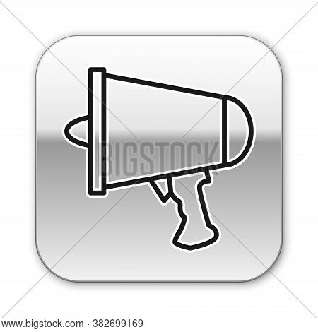 Black Line Spread The Word, Megaphone Icon Isolated On White Background. Silver Square Button. Vecto