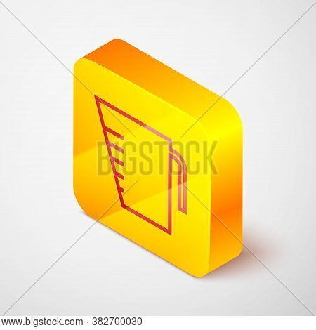 Isometric Line Measuring Cup To Measure Dry And Liquid Food Icon Isolated On Grey Background. Plasti
