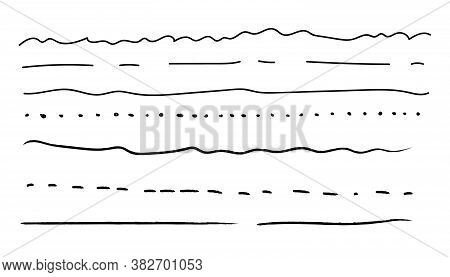 Handmade Collection Set Of Underline Strokes In Marker Brush Doodle. Set Of Hand Drawn Line Borders,