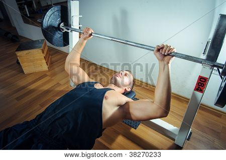 Weight lifting in gym