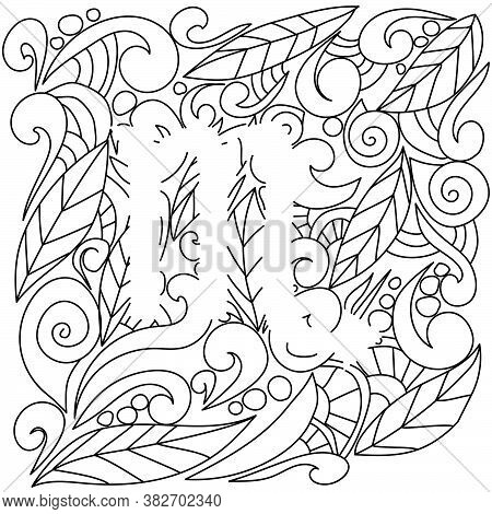 Coloring Page Using Negative Space, Silhouette Of Scorpio Zodiac Sign, Doodle Patterns Of Leaves And