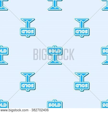 Blue Line Hanging Sign With Text Sold Icon Isolated Seamless Pattern On Grey Background. Sold Sticke
