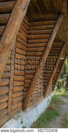 Fragment Of Wooden House.textured Wooden Background. Cross Section Of Wooden Logs.wooden Log Cabins