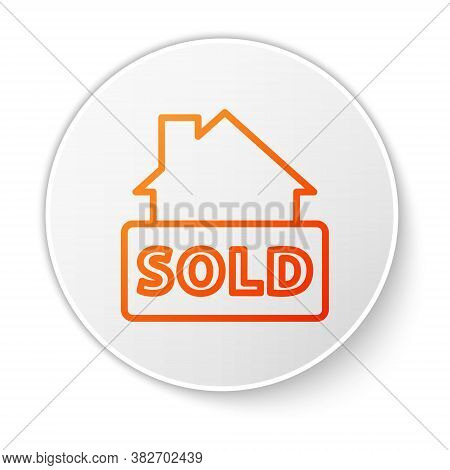 Orange Line Hanging Sign With Text Sold Icon Isolated On White Background. Sold Sticker. Sold Signbo