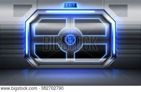 Metal Door With Exit Sign, Neon Glowing And Panel With Buttons For Password Insert. Sliding Gates In