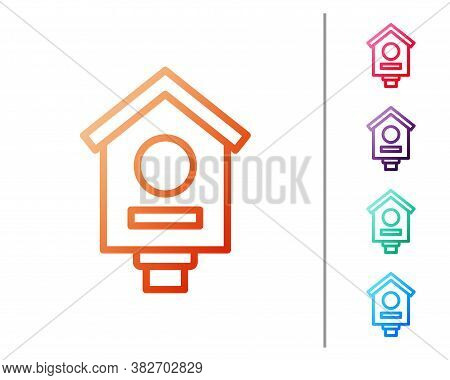 Red Line Bird House Icon Isolated On White Background. Nesting Box Birdhouse, Homemade Building For