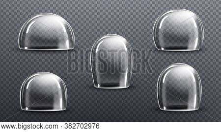 Glass Or Clear Plastic Domes. Vector Realistic Mockup Of Empty Protection Cover, Acrylic Bell Jar. E