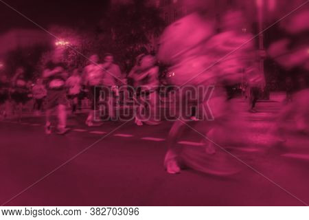 Marathon Runners. Blurred Motion Group Athletes, City Street. Abstract Sport Background. Fitness And