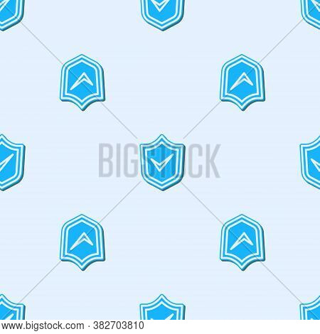 Blue Line Shield With Check Mark Icon Isolated Seamless Pattern On Grey Background. Security, Safety
