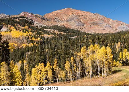 View Of Ruby Range From Kebler Pass Scenic Road In Gunnison National Forest Colorado.
