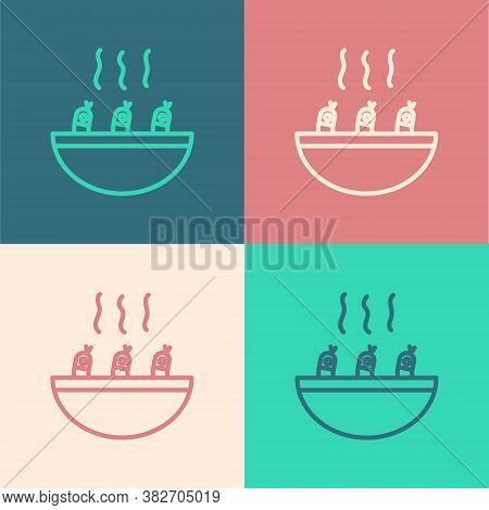 Pop Art Line Soup With Shrimps Icon Isolated On Color Background. Tom Yum Kung Soup. Vector.