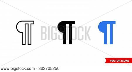 Paragraph Icon Of 3 Types Color, Black And White, Outline. Isolated Vector Sign Symbol.
