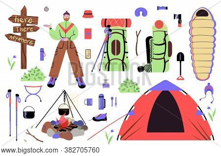 Tourism concept clipatrs. A set stuffs for trekking, camping and traveling in the wild. Vector. Cartoon flat style.