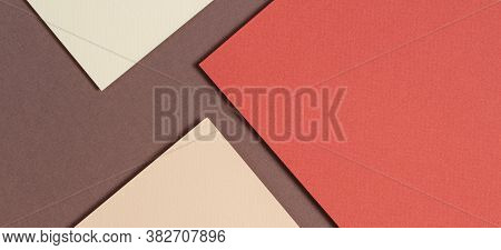 Abstract Geometric Paper Background In Earth Tones. Beige, Yellow, Coral, Brown Colors Background