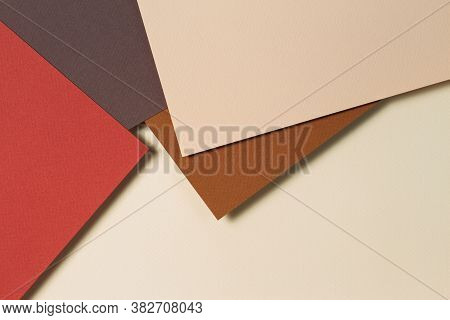 Abstract Geometric Paper Background In Earth Tones. Beige, Yellow, Brown Colors Background