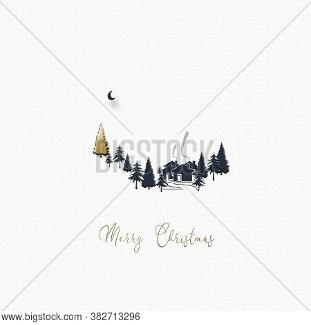 Beautiful Minimalist Christmas 2021 New Year Winter Landscape With Houses, Moon, Pine Fir And Gold C