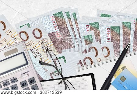10 Polish Zloty Bills And Calculator With Glasses And Pen. Tax Payment Concept Or Investment Solutio
