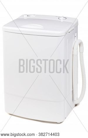 Top Loader Compact Washing Machine Isolated On White Background .  Portable Mini Wash Machine