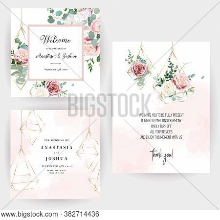 Flower Geometric Glass Hanging Terrariums Vector Design Frames. Wedding Watercolor Flowers. Ivory Wh
