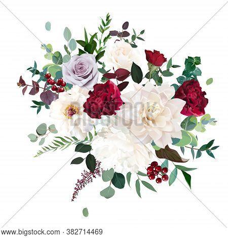 Classic Luxurious Red And Mauve Purple Rose, White Peony, Beige Dahlia, Burgundy Astilbe, Emerald Eu
