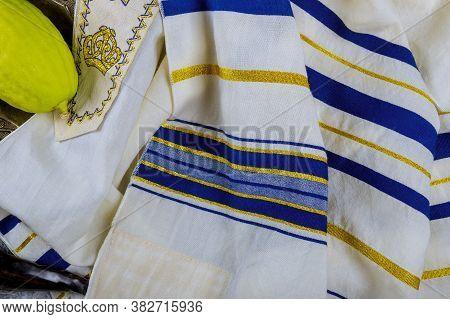 Traditional Symbols Jewish Festival Of Sukkot With Tallit Jewish Ritual